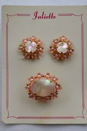 1950s Pale Pink Floral Brooch and Clip on Earrings